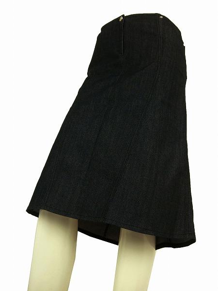 【中古】ピンコ PINKO イタリア製 紺系 ストレッチ 美形デニムスカート I42号 レディース ボトムス
