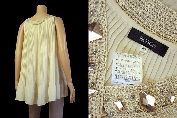 ★Bosh BOSCH* beige * 耀 bijou * pleats cut-and-sew 38/9* tops ★ / Lady's in the spring and summer