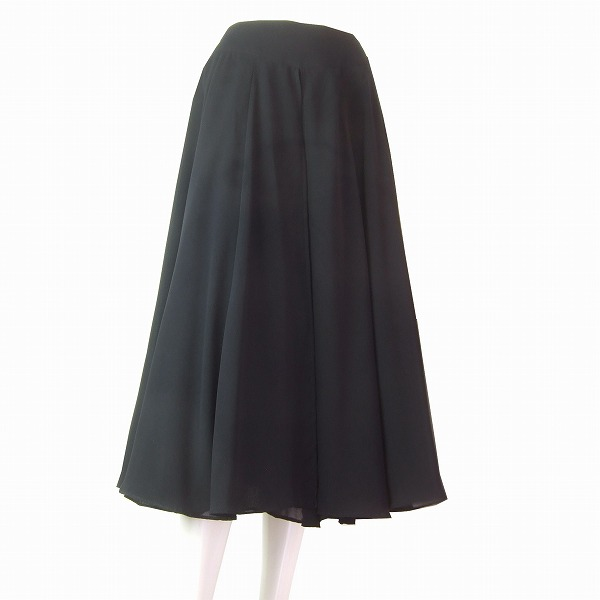 【中古】インゲボルグ INGEBORG 黒 ブラック シフォン 美揺スカート 小さいサイズ Sサイズ/7号 春夏 レディース ボトムス