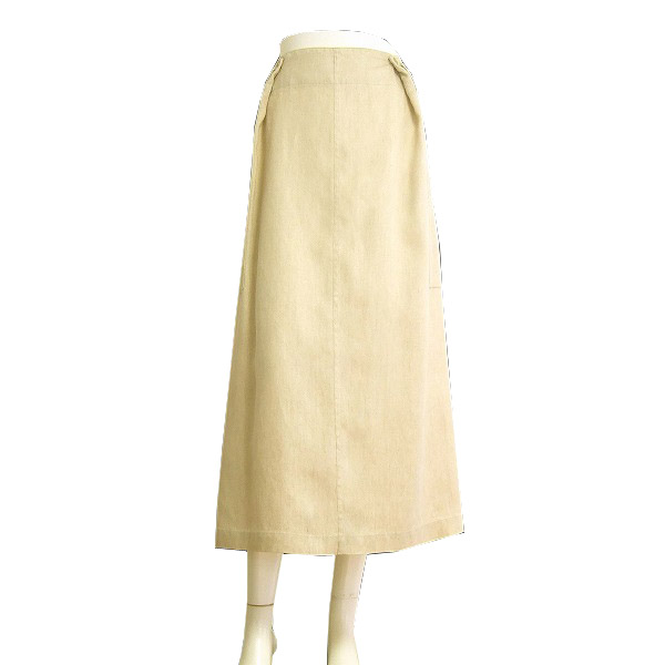 【中古】ヨウジヤマモト Y's YOHJI YAMAMOTO ベージュ リネン100ロングスカート 大きいサイズ 17号/19号/21号 春夏 レディース ボトムス