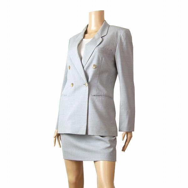 【中古】ミスクロエ miss chloe グレー 薄手 美形スカートスーツ 40号 就活 受験 春夏秋 レディース ボトムス