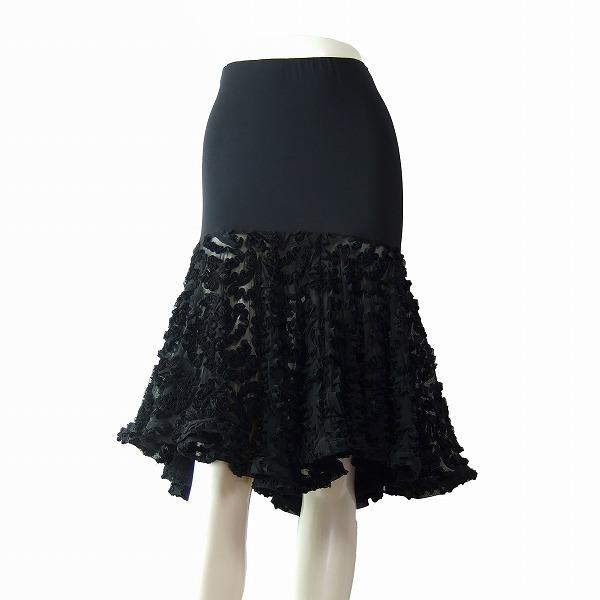 【中古】DSI London 透け感×黒 立体フリル 社交ダンス美揺スカート 小さいサイズ 7号 春夏秋冬 レディース ボトムス