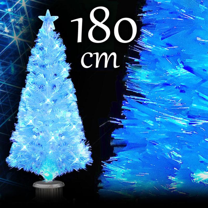 クリスマスツリー 北欧 おしゃれ パールファイバーツリー180cm ブルーLED48球付 ヌードツリー【pot】