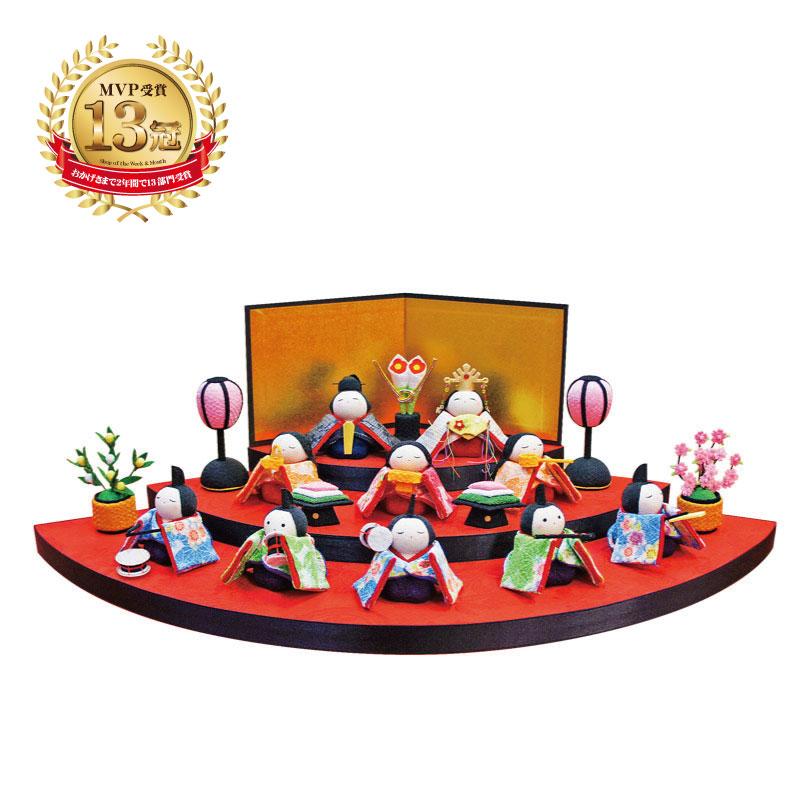 当季大流行 雛人形 ひな人形 ひな人形 ちりめん飾り 平飾り 扇面三段わらべ雛10人揃い 雛人形 平飾り, スアドーナ:0f1fb78f --- clftranspo.dominiotemporario.com