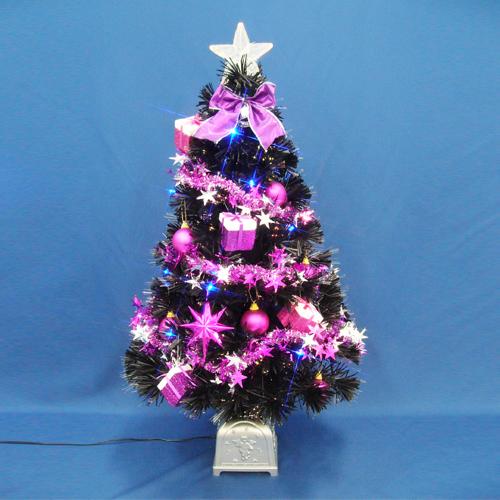 クリスマスツリー LED付きクリスマスツリー 90cmブラックファイバーツリーセット14 LED付き, RainbowRabbit:44906080 --- sunward.msk.ru
