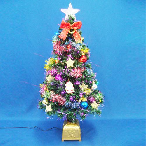 クリスマスツリー 北欧 おしゃれ 90cmファイバーツリーセット14 LED付き オーナメント セット LED
