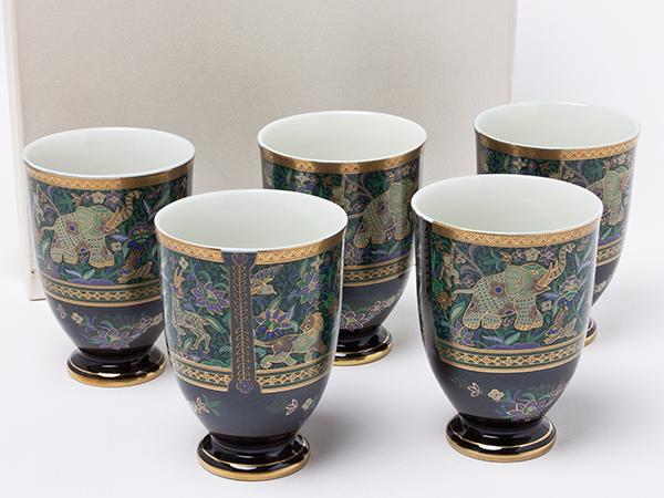 セラミック藍 象更紗 フリーカップ 5客セット un117お茶のふじい・藤井茶舗