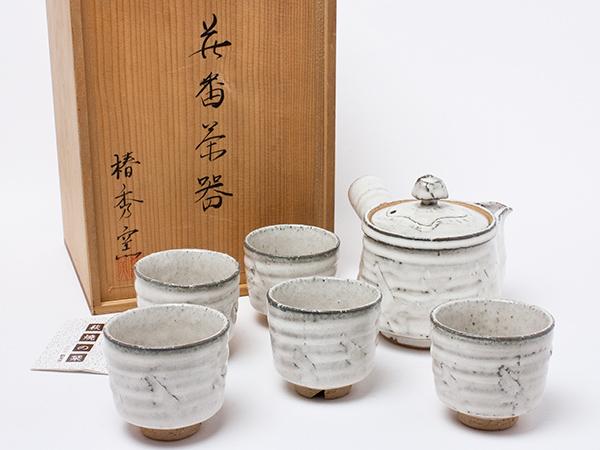 萩焼 椿秀窯 白萩(白釉)茶器揃 6点 chakis34お茶のふじい・藤井茶舗