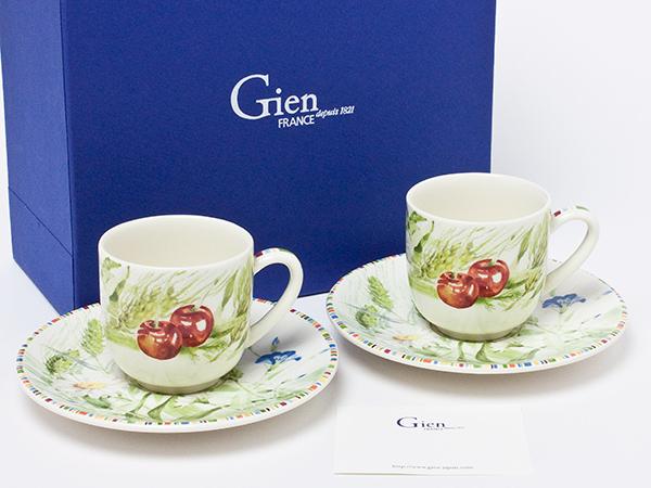 ジアン チェリー ペアデミカップ&ソーサー gien-08お茶のふじい・藤井茶舗