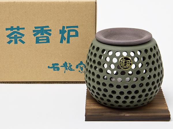 【送料無料】茶香炉 杉板付 石龍 緑泥 透かし エ1227お茶のふじい・藤井茶舗