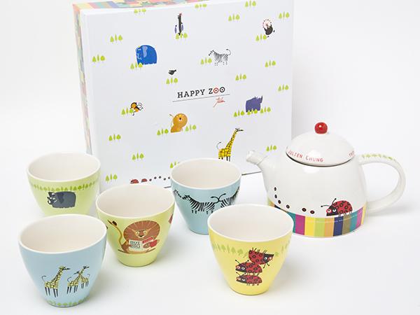【送料無料】Happy zoo ティーセット(急須1個+カップ5客)chakis38お茶のふじい・藤井茶舗
