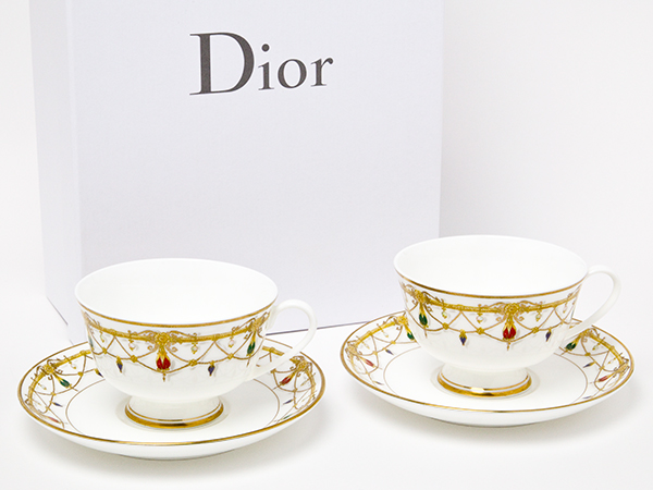 【送料無料】クリスチャンディオール Bijoux(ビジュゥ) ペアカップ&ソーサー dior-36お茶のふじい・藤井茶舗