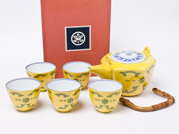 たち吉 黄交趾 煎茶揃え(急須1個+湯呑5客)chakis-42お茶のふじい・藤井茶舗