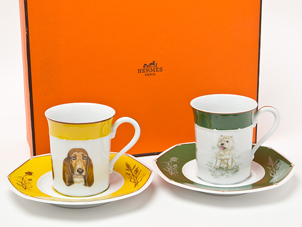 エルメス犬柄ドッグペアカップ&ソーサーお茶のふじい・藤井茶舗