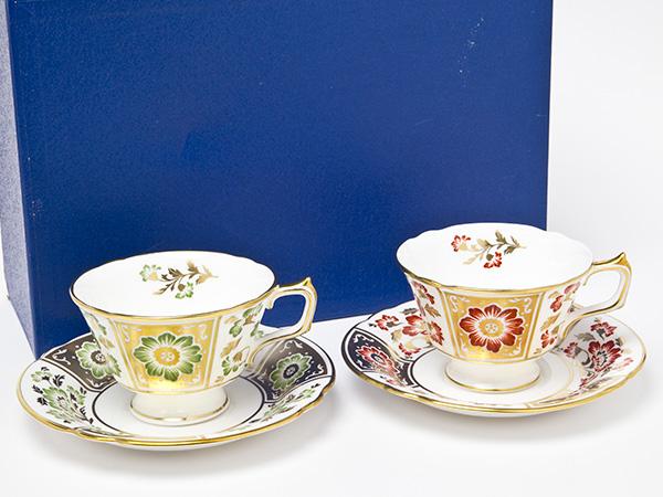 ロイヤルクラウンダービー(グリーンダービーパネル)ティーカップ&ソーサーお茶のふじい・藤井茶舗