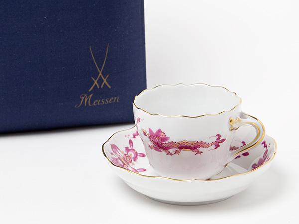 マイセン/Meissen エスプレッソデミカップ&ソーサー(ドラゴン)ピンクお茶のふじい・藤井茶舗