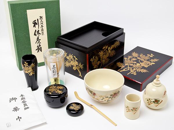 茶箱セット 桐笹蒔絵 4-12 お茶のふじい・藤井茶舗