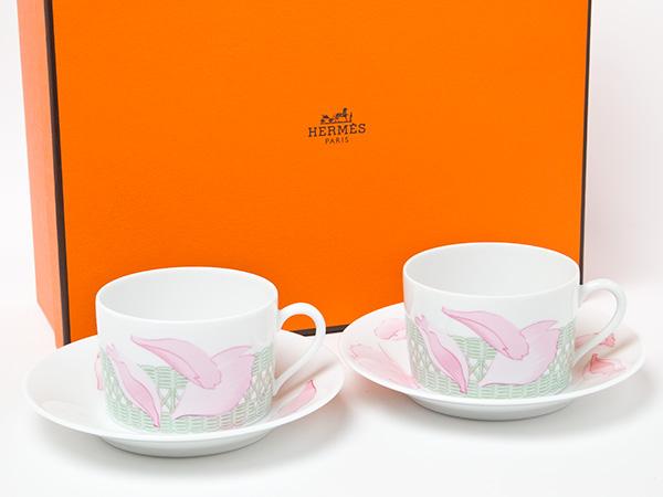 エルメス ピヴォワンヌ PIVOINES ROSES(シャクヤク)ティーカップ&ソーサー2客セット お茶のふじい・藤井茶舗