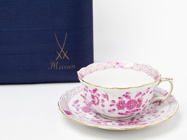 マイセン インドの華 リッチピンク カップ&ソーサー(カップのみスクラッチ有のセカンドクラス) お茶のふじい・藤井茶舗