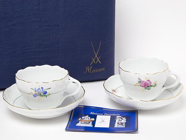 マイセン/meissen(金彩・2種類の花)花柄ティーカップ&ソーサー2客セット お茶のふじい・藤井茶舗