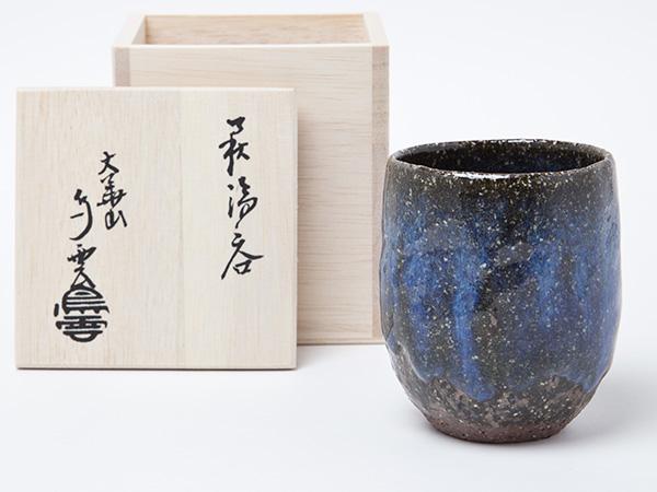 萩焼 納富鳥雲作 青萩藁釉流し 湯呑 お茶のふじい・藤井茶舗