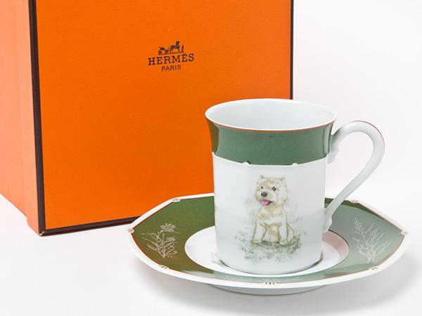 【送料無料】エルメス ウェストハイランドテリア犬カップ&ソーサー お茶のふじい・藤井茶舗