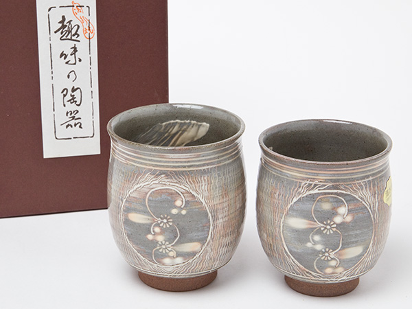 清水焼 織部の葉 夫婦湯呑 お茶のふじい・藤井茶舗