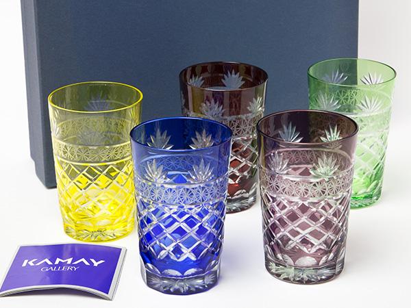 KAMAY切子ガラス 色被せ 色変り グラス5客セット お茶のふじい・藤井茶舗