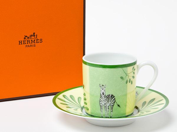 HERMES エルメス アフリカ動物柄 エスプレッソデミタスカップ&ソーサー お茶のふじい・藤井茶舗
