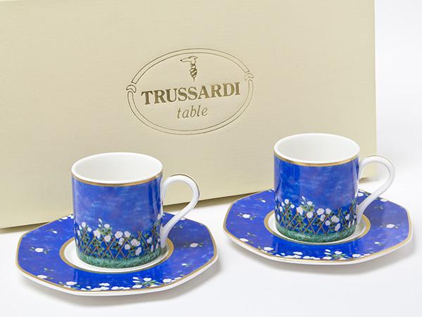 トラサルディ TRUSSARDI ペアコーヒーカップ&ソーサーお茶のふじい・藤井茶舗