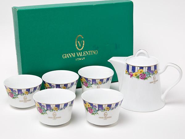 ジャンニバレンチノ 薔薇柄 茶器セット(急須1個+湯呑5客)お茶のふじい・藤井茶舗