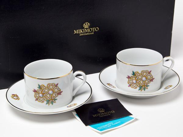 MIKIMOTO ミキモトインターナショナル パールシェルフラワー カップ&ソーサー2客お茶のふじい・藤井茶舗