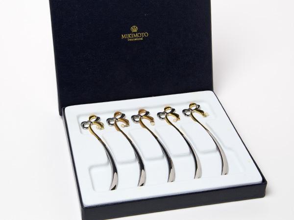 MIKIMOTO ミキモトインターナショナル 真珠の小粒付 リボン型マドラー ゴールド&シルバー5本セットお茶のふじい・藤井茶舗