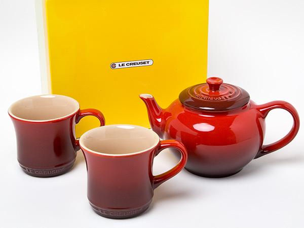 LE CREUSET ル・クルーゼ ティーポットフィルター付き マグカップペア(レッド)お茶のふじい・藤井茶舗