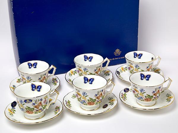 エインズレイAynsleyイングリッシュバイオレット ワイルドチューダー 蝶の舞うティーカップ&ソーサー6客セットお茶のふじい・藤井茶舗
