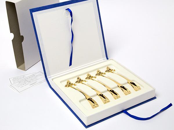 【送料無料】MIKIMOTO ミキモトインターナショナル ゴールドスプーン真珠の小粒付5本セットお茶のふじい・藤井茶舗
