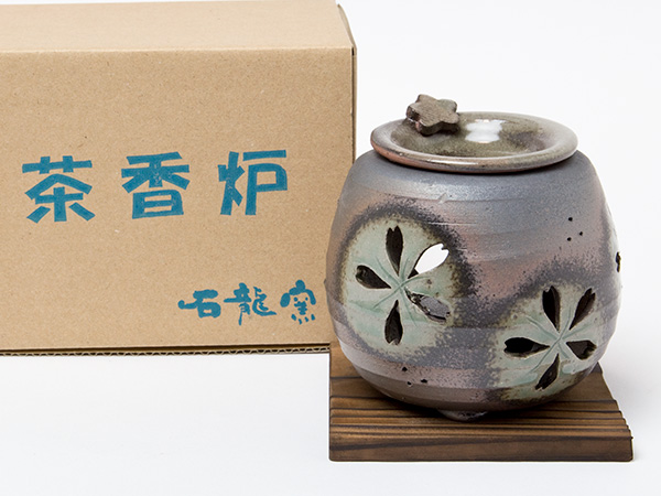 石龍 緑灰釉桜透かし茶香炉6-249お茶のふじい・藤井茶舗