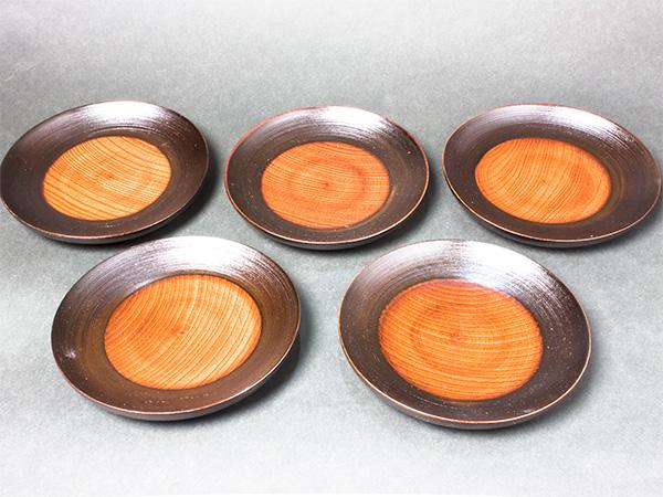 けやき材 木製銘々皿(刷毛目)5枚組 MM05お茶のふじい・藤井茶舗