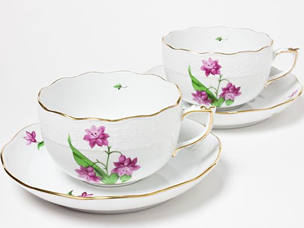 ヘレンド 公式 HEREND 有名な ティーカップ ソーサー ペアセット herend-04お茶のふじい 藤井茶舗 ヒヤシンス