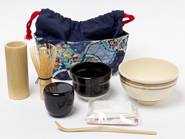 茶籠セット(野点セット)黒釉お茶のふじい・藤井茶舗