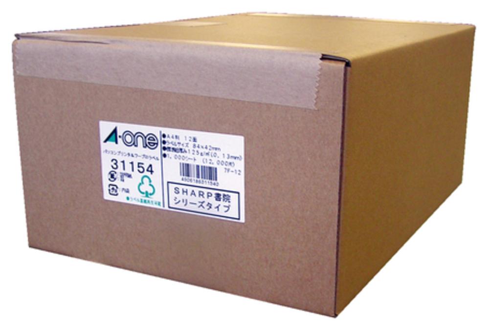 エーワン パソコン&ワープロラベル プリンタ兼用A4判SHARP12面1000シート 31154
