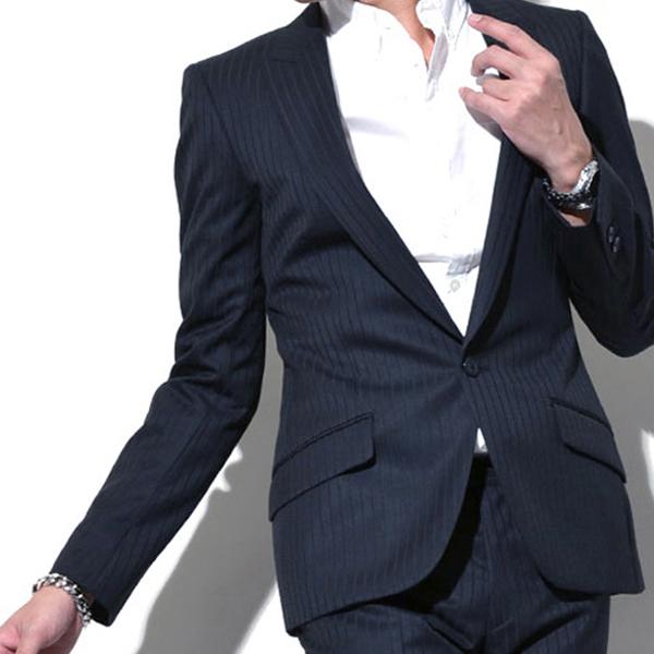 ストライプダークブルーブラックスーツ,かっこいいビジネススーツ,結婚式スーツ