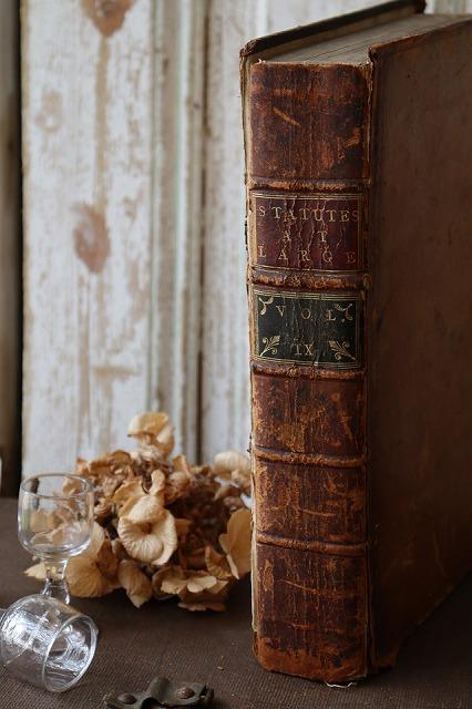 卓抜 おしゃれ 洋書 2020 古い本 英国アンティーク 約250年前 イギリス国王ジョージ3世に関する革装丁の本 Q320