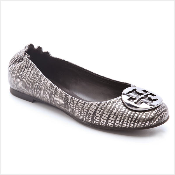 Tory Burch shoes flat shoes Tory Burch Lizard Printed Reva Ballet Flat  color: pewter/pewter