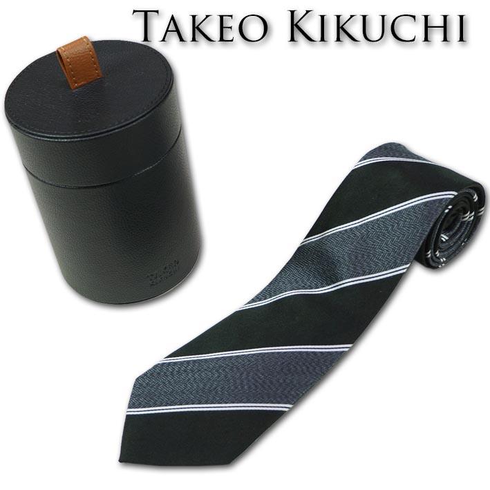 タケオキクチ TAKEOKIKUCHI の通販はSSC プレゼントやギフトに TAKEO KIKUCHI シルク ジュエリーボックス入り レジメンタル 限定品 メンズ ブラック系 NEW ネクタイ