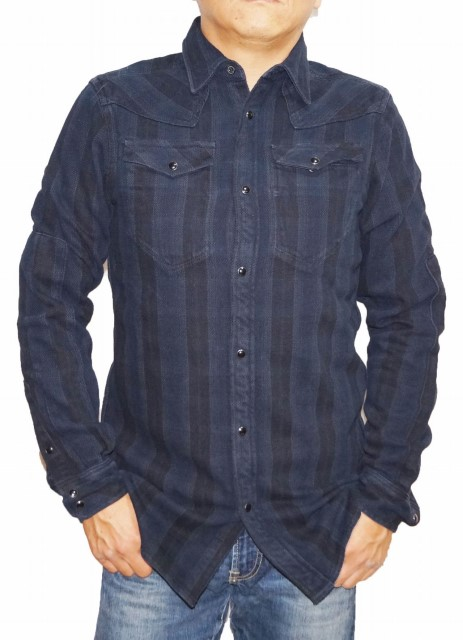 ジースターロウ G-STAR RAW 長袖シャツ ウエスタン 83851F チェック 黒紺 メンズ 秋物 冬物 ブラック ネイビー