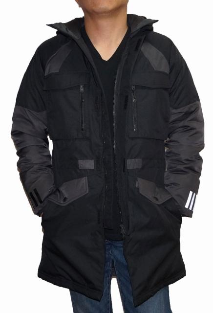 【中古】アディダス adidas × ホワイトマウンテニアリング ダウンジャケット BQ4065 黒 メンズ White Mountaineering 冬物 ブラック 防寒 防風 耐寒 保温 ヒート