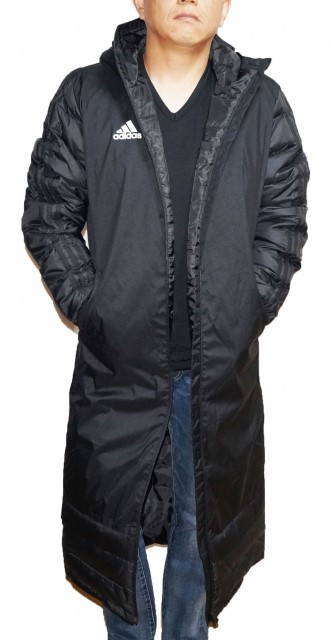 【中古】【訳あり】アディダス adidas ロング ダウンコート 黒 BQ6590 メンズ スリーストライプ 冬物 ブラック 防寒 防風 耐寒 保温
