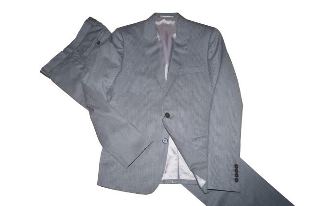 モルガンオム MORGAN HOMME スーツ シングル 2つボタン ピンストライプ グレー メンズ