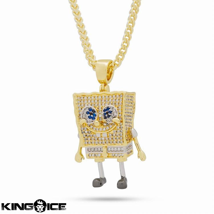 King Ice×SpongeBob SquarePants キングアイス スポンジボブ ネックレス ゴールド ジルコニアストーン